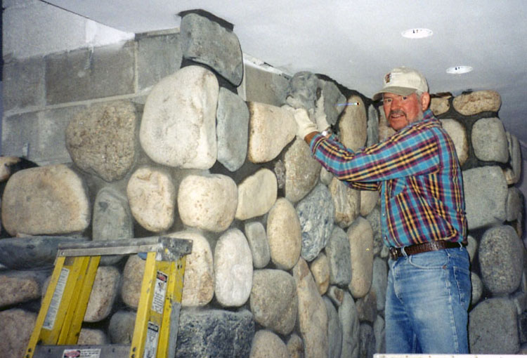 how to build a rock fireplace